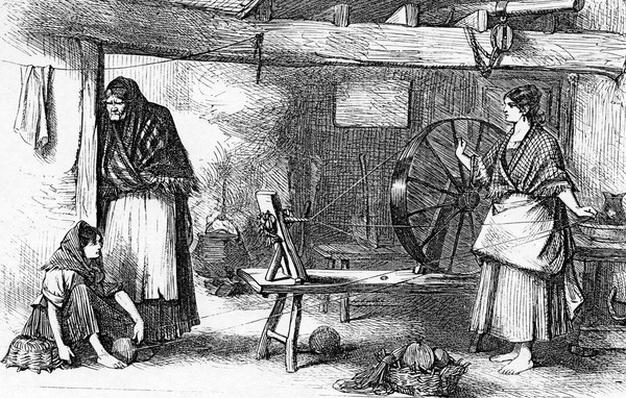 Spinning Net Thread in the Claddagh, Galway, illustration from 'The Illustrated London News', July 16 1870