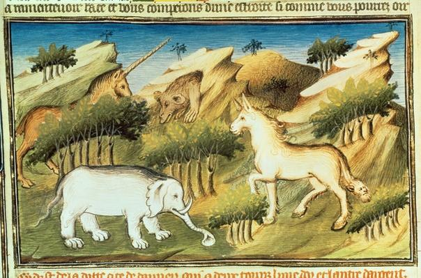 Ms Fr 2810 f.59v Mythical animals in the wilderness