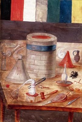 Ms Fr. 14765 f.1 Alchemist's equipment, reputedly written and illuminated by Nicolas Flamel