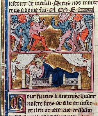 Ms Fr. 95 fol.113v Council of Demons, from 'l'Histoire de Merlin', c.1280-90