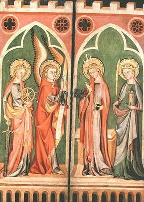 Annunciation with S.S. Barbara and Katherine, 1310-40