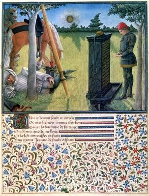 A young knight stands before a gravestone while his servant sleeps near their horses, from 'Livre du Coeur d'Amours Espris' by Rene d'Anjou, 1465