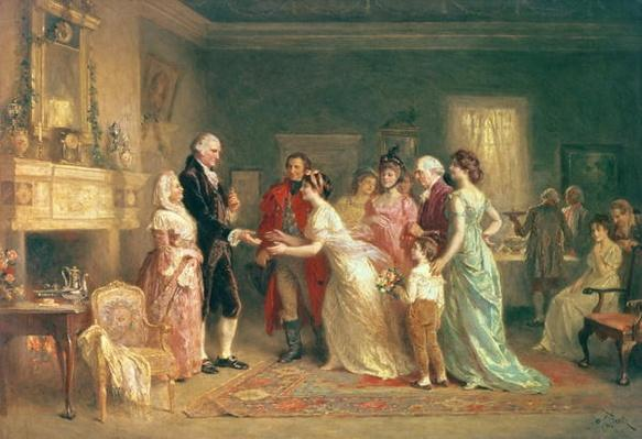 Washington's Birthday, 1798 (oil on canvas) by Ferris, Jean Leon Gerome (1863-1930)