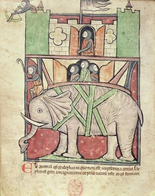 Ms 22 f.26v Elephant carrying a howdah full of soldiers, from the Westminster Abbey Bestiary, c.1270-90