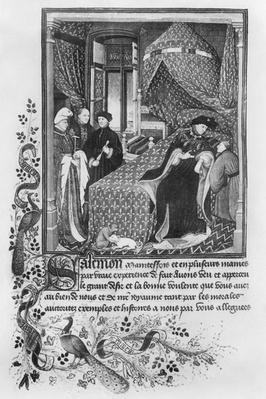 Ms 165 fol.4 King Charles VI of France in discussion with Pierre Le Fruitier known as Salmon, from Pierre Salmon Dialogues, 1412
