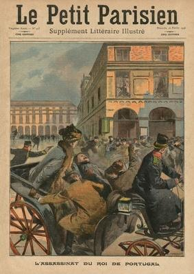 Assassination of King Carlos I, King of Portugal, front cover illustration from 'Le Petit Parisien', supplement litteraire illustre, 16th February 1908