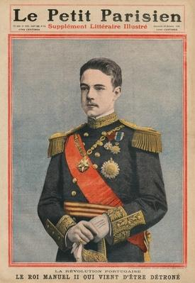Portuguese Revolution, King Manuel II of Portugal has just been dethroned, front cover illustration from 'Le Petit Parisien', supplement litteraire illustre, 16th October 1910