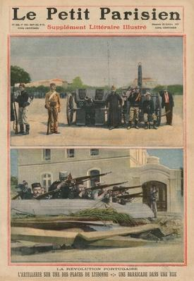 Portuguese Revolution, Artillery on a square of Lisbon, a barricade in a street, front cover illustration from 'Le Petit Parisien', supplement litteraire illustre, 23rd October 1910