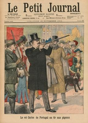 Carlos I, King of Portugal and the Algarves, aiming a rifle at pigeons, front cover illustration from 'Le Petit Journal', supplement illustre, 16th November 1902