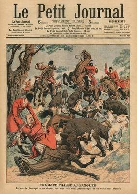 Tragic boar hunt, the horse of Carlos I, King of Portugal, is killed under him, front cover illustration from 'Le Petit Journal', supplement illustre, 23rd December 1906