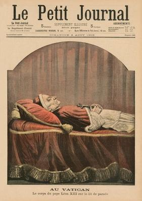 At the Vatican, Pope Leo XIII lying in state, front cover illustration from 'Le Petit Journal', supplement illustre, 2nd August 1903