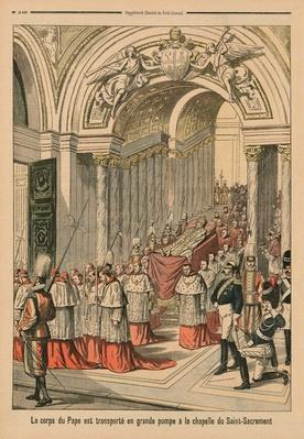 The body of Pope Leo XIII is carried with great pomp to the Chapel of the Blessed Sacrament, back cover illustration from 'Le Petit Journal', supplement illustre, 2nd August 1903