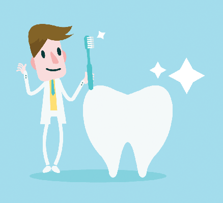 Dentist Holding a Toothbrush Cleaning a Big Tooth | Clipart