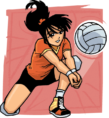 Volleyball Player Reaching for Ball | Clipart