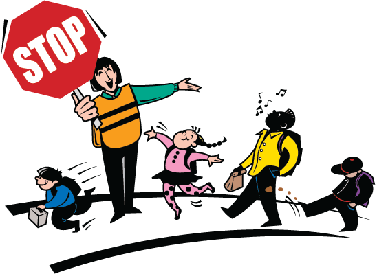 Crossing Guard and Children | Clipart