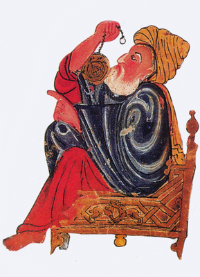 Medieval Arabic Scholars Watching Their Teacher Demonstrate an Astrolabe   Clipart