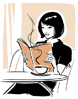 Woman Reading Book at Caf? | Clipart