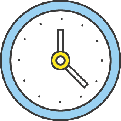 Flat Line Design Concept: Clock Icon | Clipart