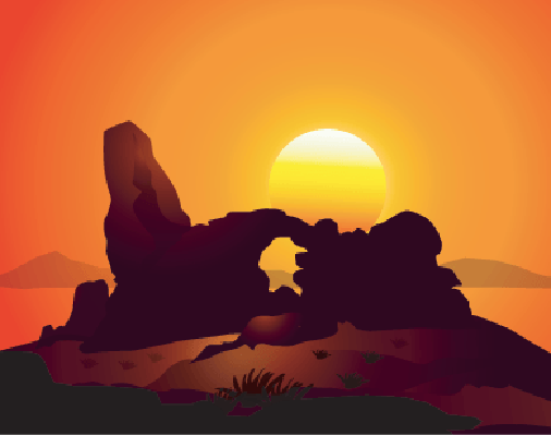Sunset on Natural Arches,Arizona|Vector | Clipart