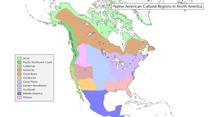 Map of Native American Cultural Regions in North America