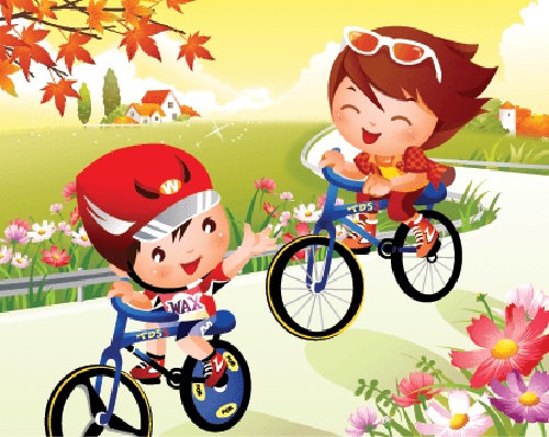 Bikes and Bicycles - Boy and Girl Riding Bicycles | Clipart