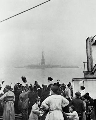 ELLIS ISLAND VIEW, DECK OF SHIP PULLING INTO NEW YORK HARBOR, C. 1900 | U.S. Immigration | 1840's to present | U.S. History