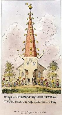 Design for a Ritualist High Church Tower and Steeple, dedicated to Dr. Pusey and the Vicar of Bray, 1868