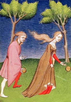 Harl 4431 f.128v Melanion races against Atalanta