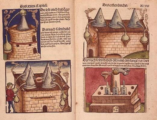 C 64.g.7 f.47v-48 Methods of Distillation, illustration from 'Kleines Distillierbuch', 1500