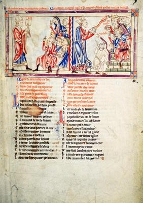 f.2 LtoR Thomas a Becket pronounces the sentence of excommunication on his enemies and argues his case before King Henry II of England