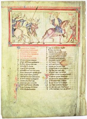 f.2v Thomas a Becket departs from King Henry II of England and Louis VII of France