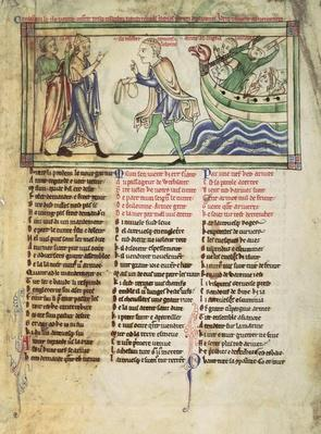 f.4 Thomas a Becket prepares to sail for England in November 1170 to end his exile, from the Becket Leaves, c.1220-40