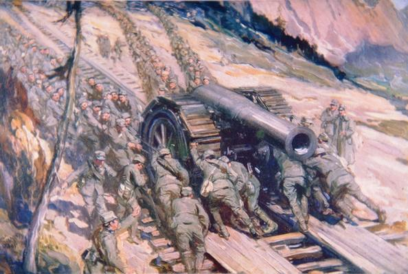 Italians hauling artillery up a mountain