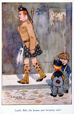 'Look, Bill, his knees are hanging out!', British WWI postcard, 1914-18