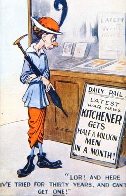 Kitchener's volunteer army, British WWI postcard, 1914-18