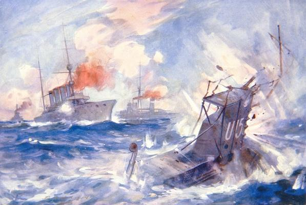 The Sinking of the German Submarine U15 by HMS Birmingham
