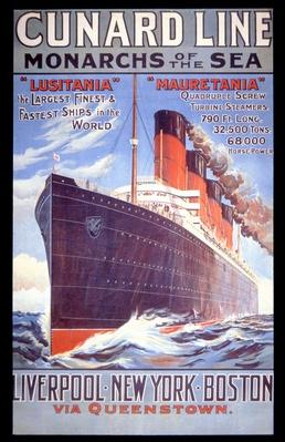 'Cunard Line - Monarchs of the Sea', poster for the Lusitania and Mauretania, 1907