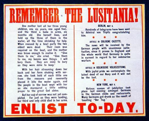 'Remember the Lusitania!', British propaganda notice to encourage enlistment, 1915