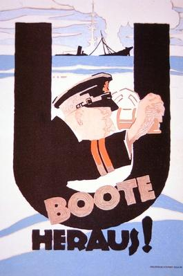 'U-Boats Out!', German WWI poster, 1914-18