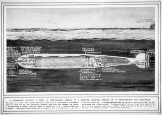 The Whitehead Torpedo, from The Illustrated War News, 17th February 1915