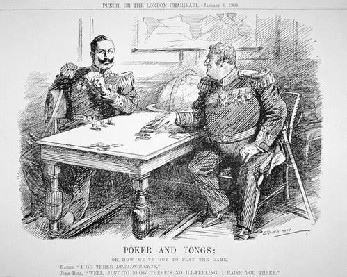 'Poker and Tongs', Punch cartoon concerning naval rivalry between Britain and Germany, 8th January 1908