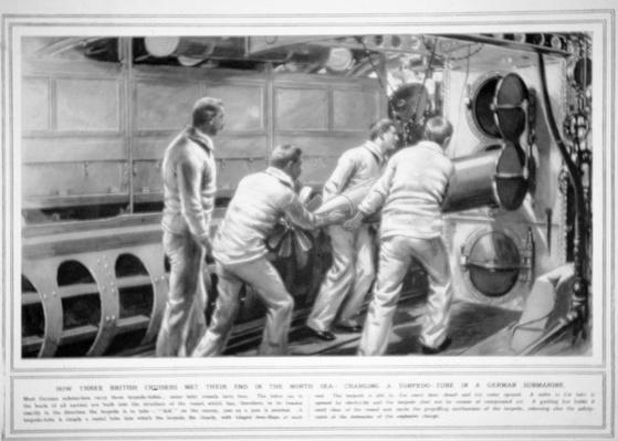 Charging a torpedo tube in a German submarine, from The Illustrated War News, 30th September 1914