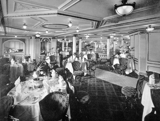 The Dining Salon on A Deck, RMS Lusitania, 1907