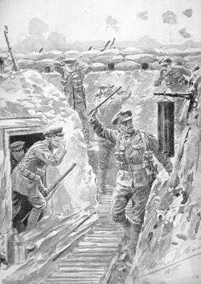 Warning in British trench of imminent German poison gas attack, Western Front, 1915