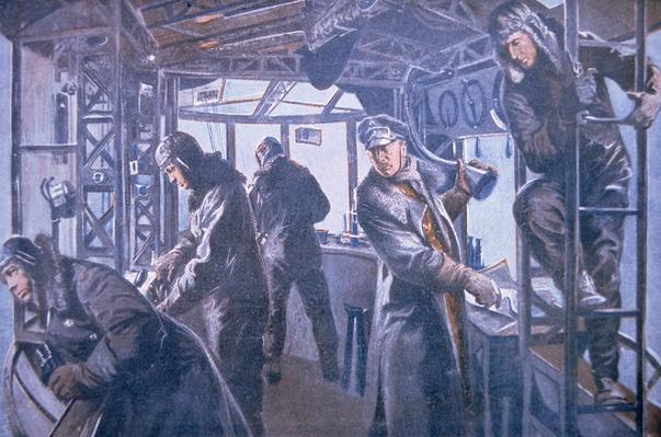 In the forward control gondola of a Zeppelin, 1917