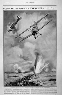 British planes bombing and strafing German trenches, 1918