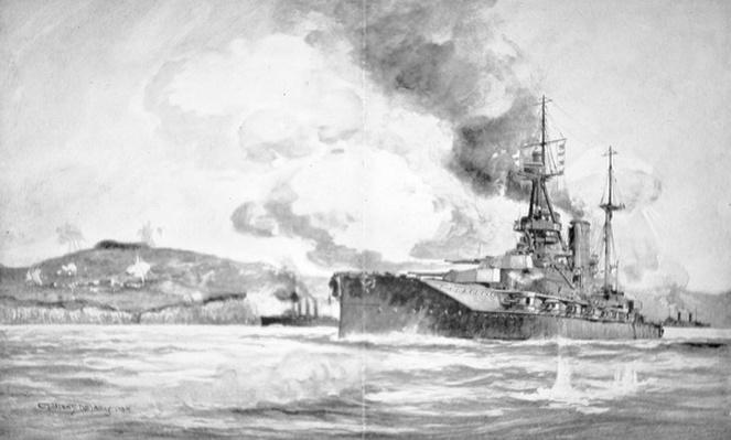 HMS Queen Elizabeth bombarding the Dardanelles defences in 1915