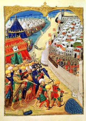 Lat 6067 f.55v The Turkish forces preparing for battle outside the walls of Rhodes in 1480, from 'A History of the Siege of Rhodes', by Guillaume Caoursin, 1483