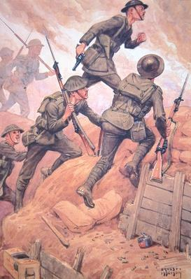 British soldiers 'going over the top' climbing out of a trench and into battle on the Western Front