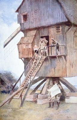 British observation post in a windmill in Flanders, 1918